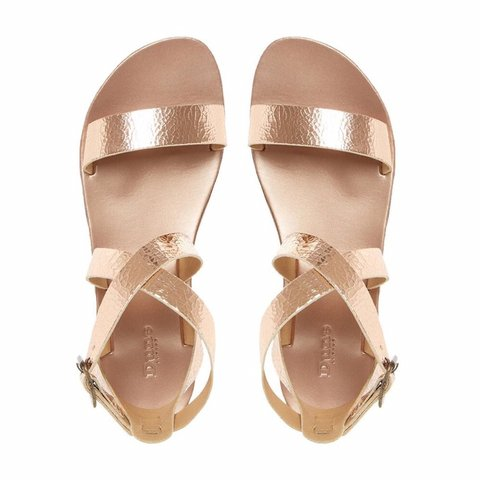 0258cb6a543 Dune Rose Gold Sandals. Size  UK 5 (Lotti Rose Gold Flat - Depop