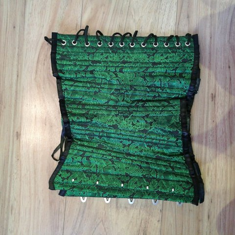 9b56391880 Green and black underbust corset. Only worn once. Purchased - Depop