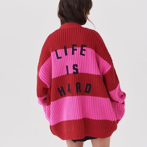 4305d46f1058 @contraclothing. 7 months ago. London, United Kingdom. Lazy Oaf 'Life is  Hard' Chunky Knit Cardigan