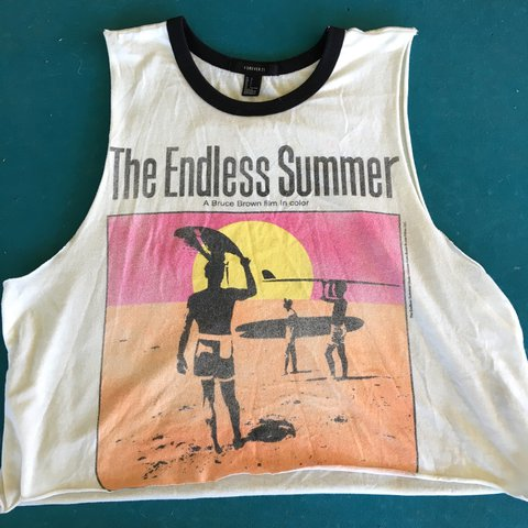 eec2ee94396f The Endless Summer muscle tee shirt from Forever 21 size but - Depop