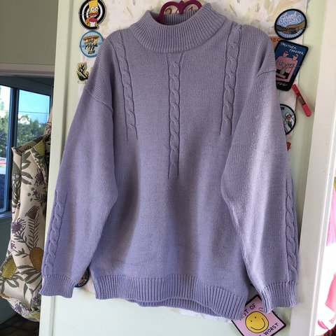 2a89c393c91 Vintage lilac grandma sweater Great condition just needs a - Depop