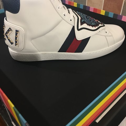 4595a2665 @elohor86. last year. Hornchurch, United Kingdom. Gucci New Ace Blue Tiger  White high Top ...