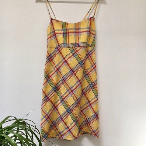 4c4dfe2c6f46 @blown_rose. yesterday. United Kingdom. Vintage yellow checkered strap mini  sun dress.