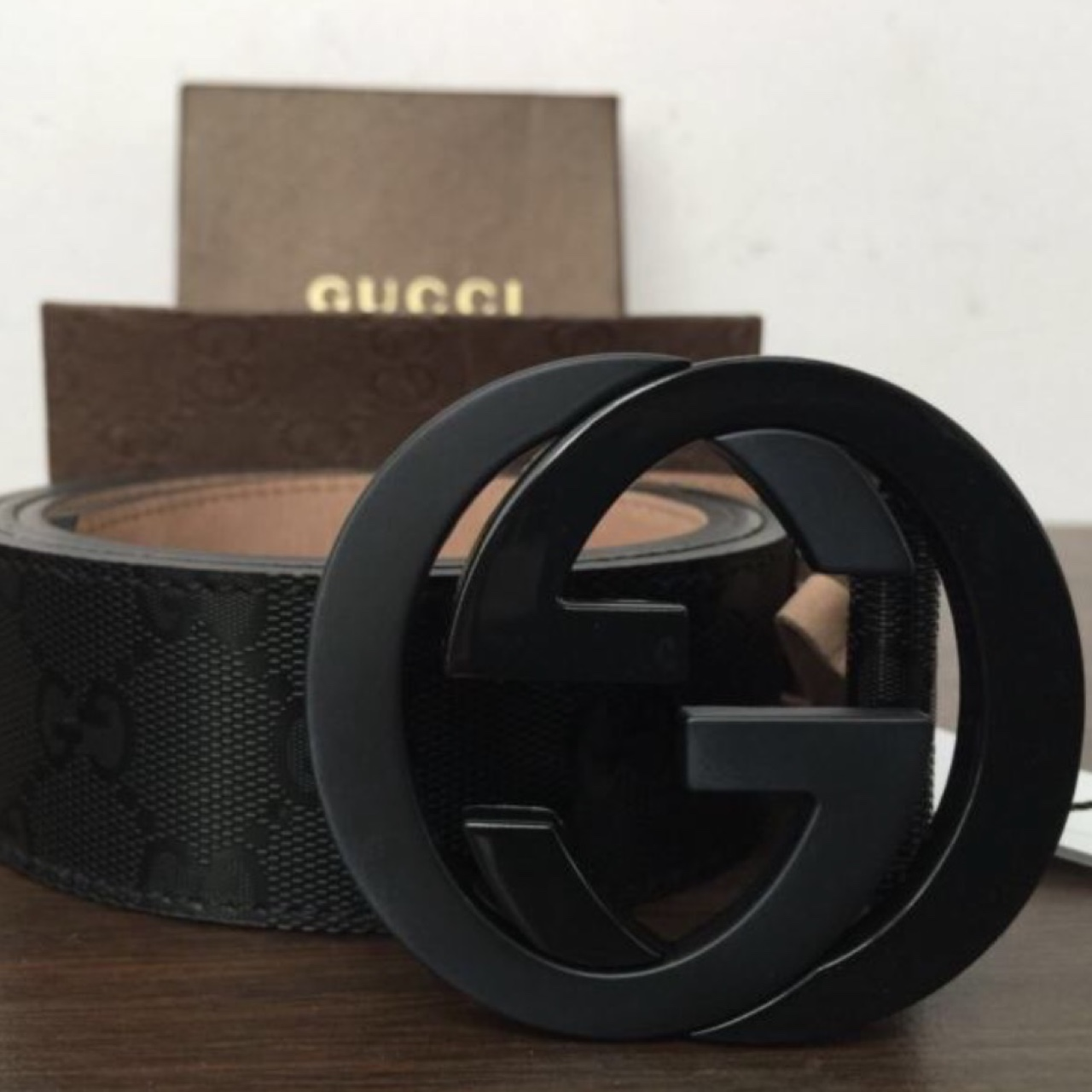 32bec4261 HA · dealstogo9. Queens County, United States. NWT Authentic Gucci Men's  Black GG Imprimé Shiny Belt ...