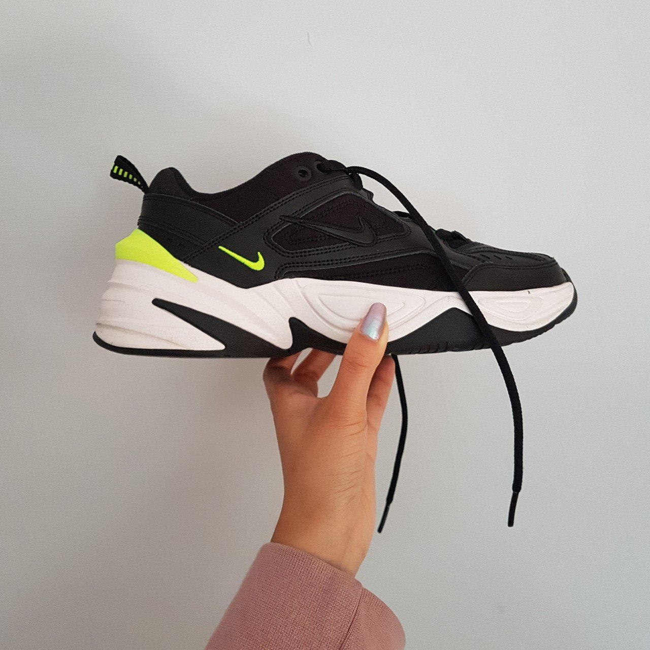 981dfc3d7509 Nike Tekno M2k Black Neon Volt Monarch. UK 4.5 but could fit - Depop