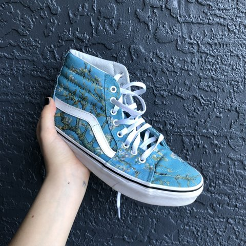 🦋van gogh almond blossom high top vans🦋 worn once and in - Depop 8e83ab286