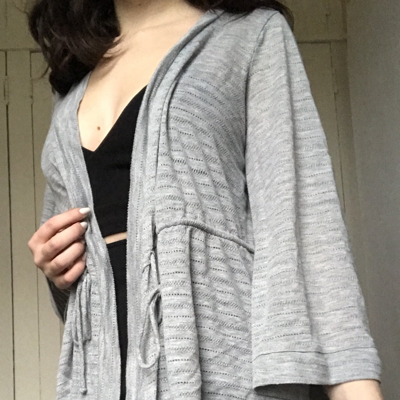 6cb5c5526b small light gray bell sleeve cardigan   I guess you could a - Depop