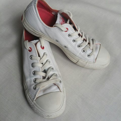 Converse All Star White Red Leather Trainers - Size - UK 5 6249ee426