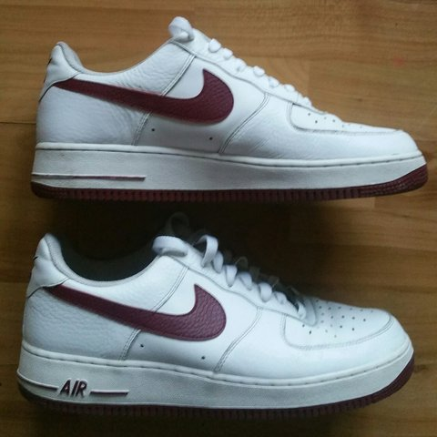 6d52c1cbe5c Nike Air Force 1 One White Red Burgundy Trainers - UK 9