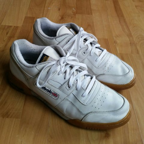 2835d18bc480b Reebok Classic Workout Plus White Gum Sole Trainers UK 10