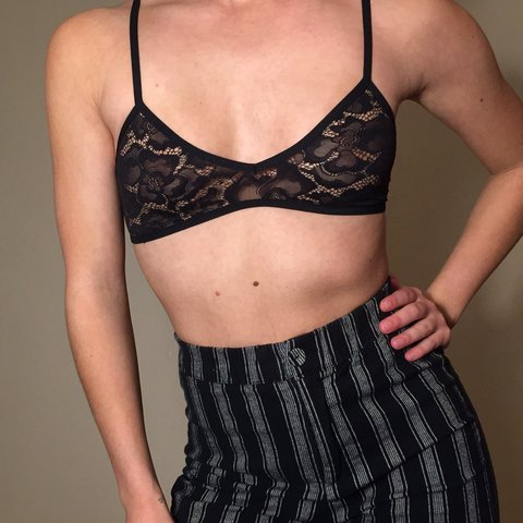 464c357638679 Rare Black lace American apparel bralette crop top. Fits - Depop