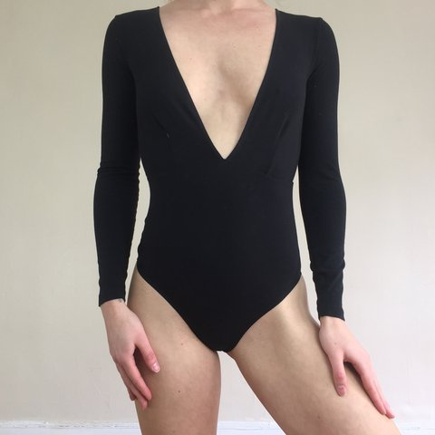 fd49376e8f Deadstock black American apparel cotton spandex deep cut v a - Depop