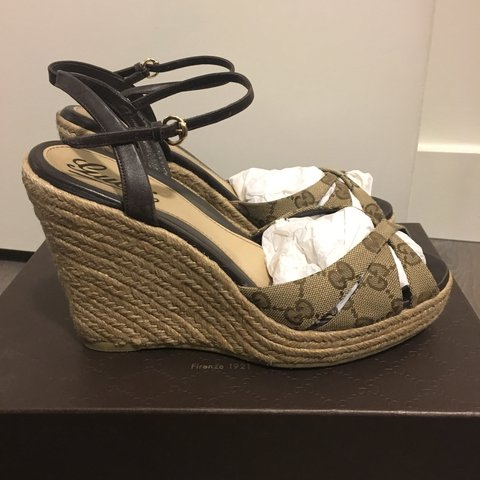 f1854338091 Authentic  GUCCI wedge sandals Size 39 Comes with original - Depop