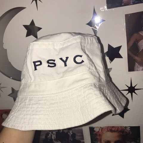 b3a6f0764f7 vintage psych white bucket hat port authority marked as - Depop