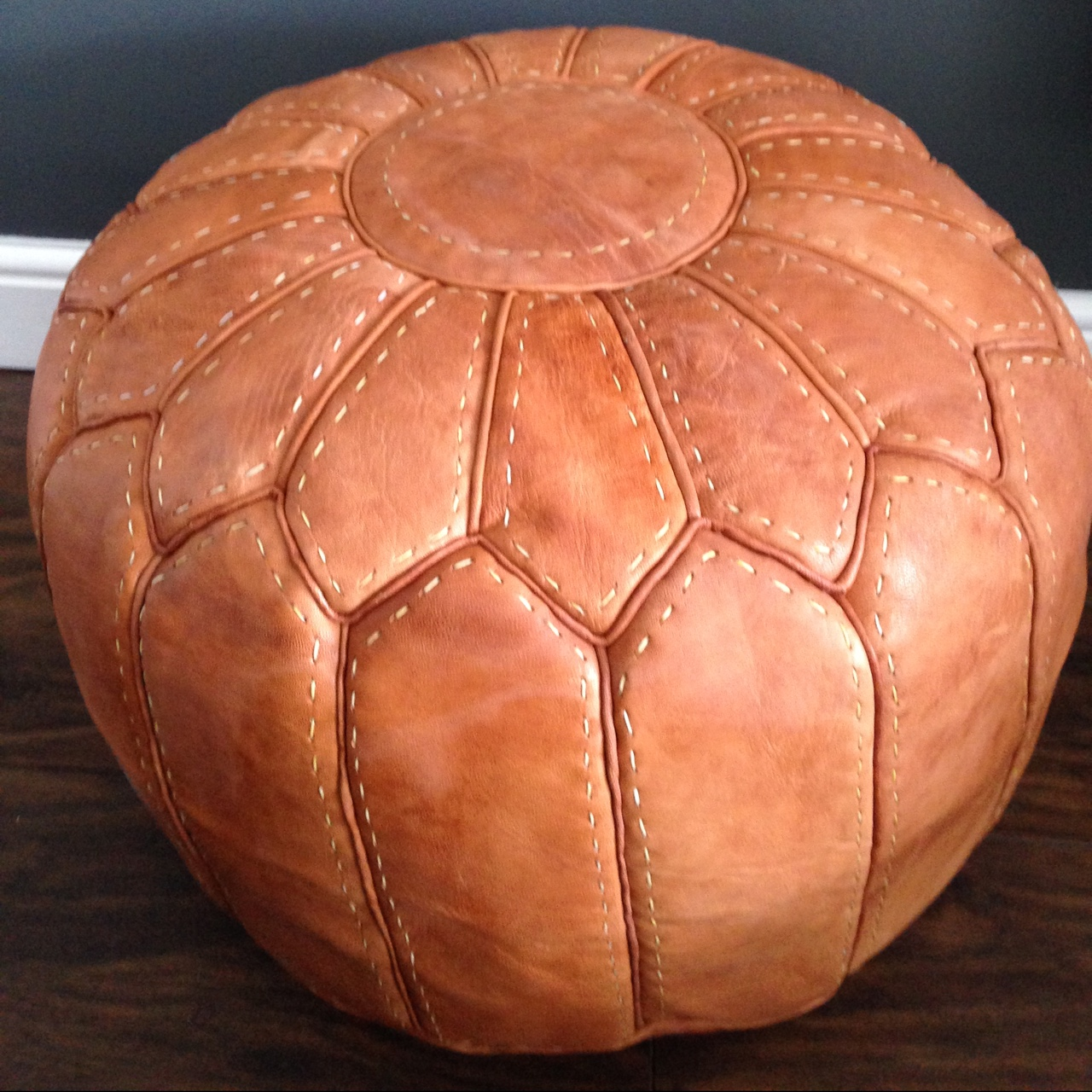 Miraculous Moroccan Natural Tan Leather Pouf Handmade In Depop Ncnpc Chair Design For Home Ncnpcorg