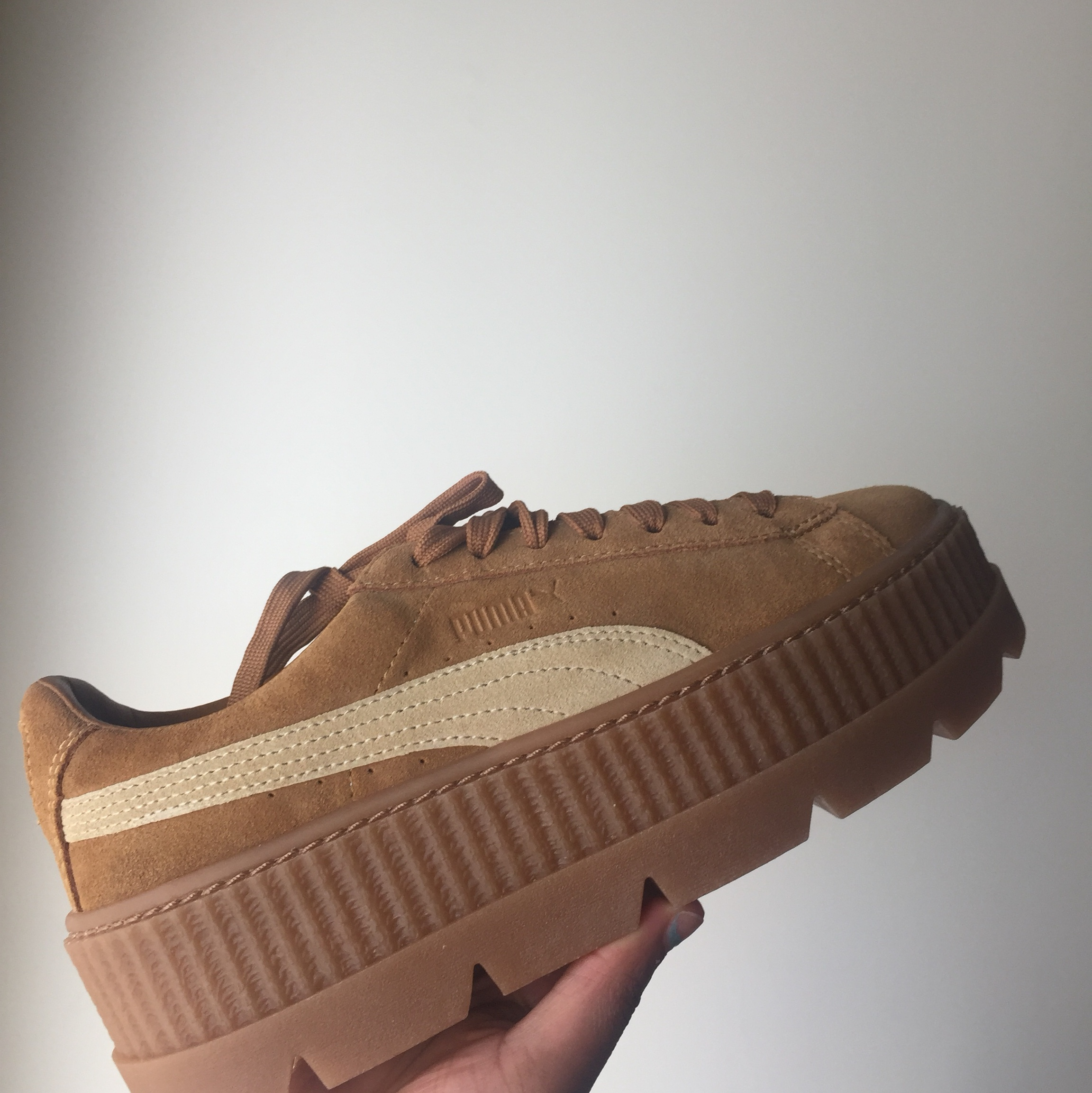 best service e321c ca6f4 Cleated Creeper suede wn's Golden brown fenty puma,... - Depop