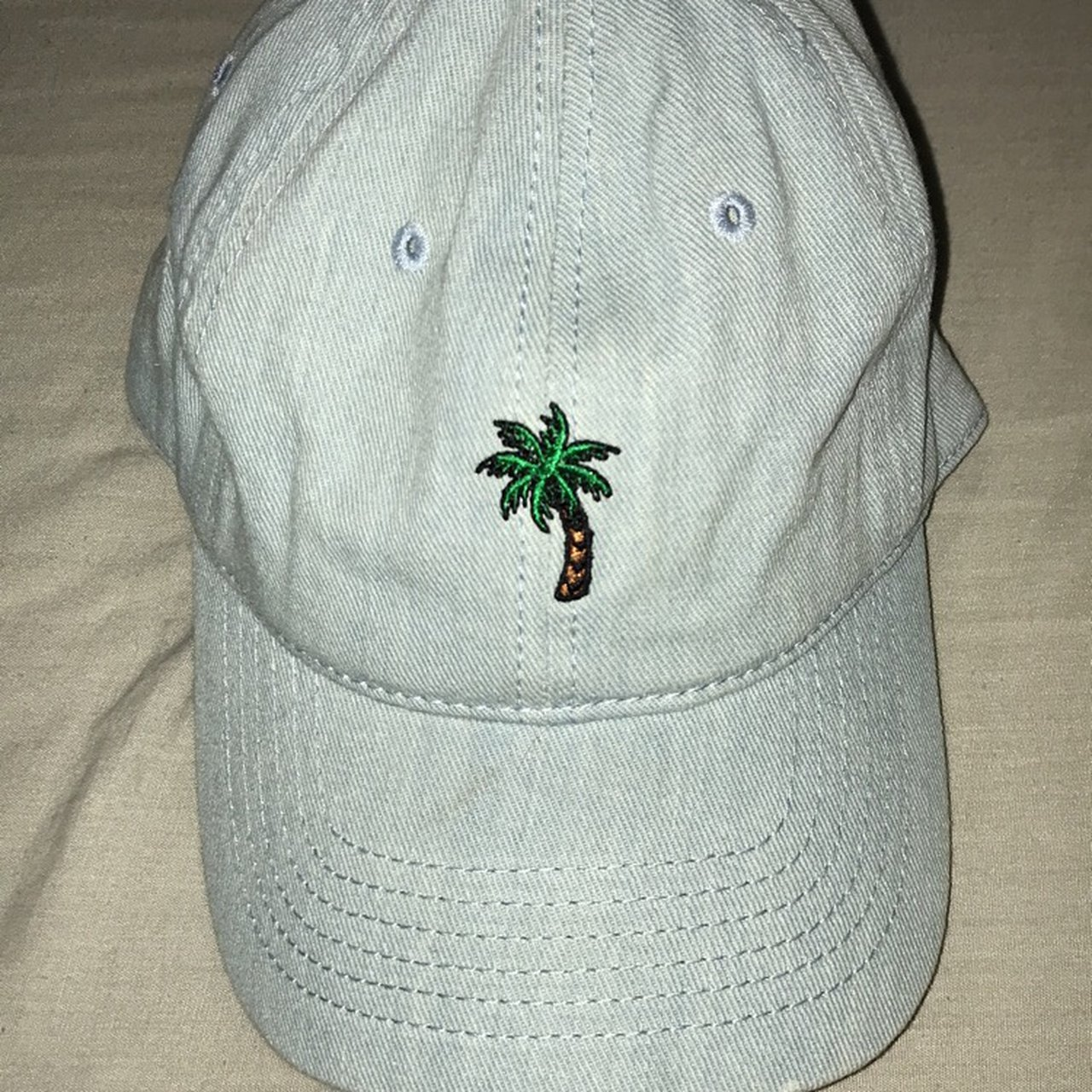 49f4b4b05ee Forever21 light denim palm tree dad hat. one size fits to if - Depop