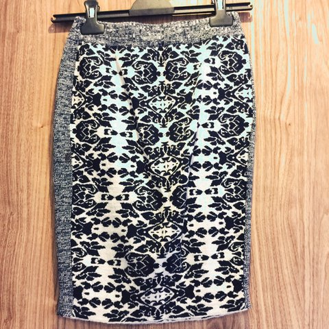 87c6f9b677a 100% wool navy and white patterned skirt from Spanish Bimba - Depop
