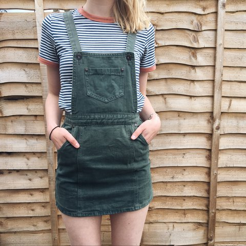 e5203183bf5 lush asos denim green pinafore dungarees dress size 6 8! V v - Depop