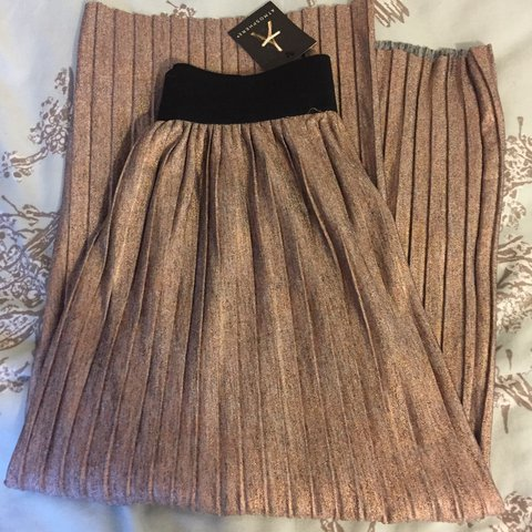 1617cfaca0cd @sarahhandrews_. 2 years ago. Welshpool, United Kingdom. Rose gold metallic  pleated midi skirt ...