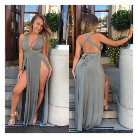 686f3c8e961 Khaki multiway halter neck maxi dress tie up neck with leg - Depop