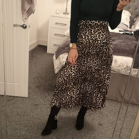 60e233ad7 Leopard print animal print pleated midi skirt. From Tesco! - Depop