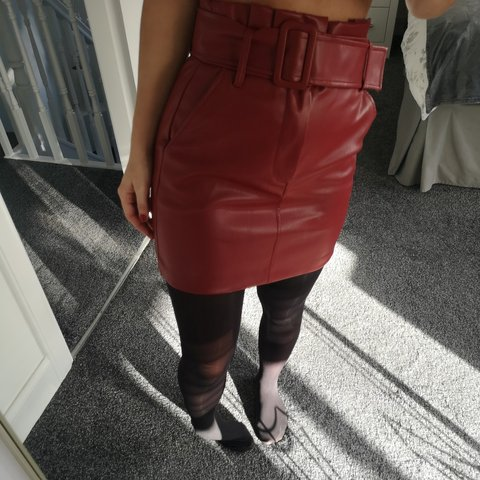 321420e064 Zara red faux leather skirt. Paperbag waist. Thick buckle ✨ - Depop