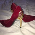 d066f7a9db4 Adorable Lulu Hun red leather Chrissie Block Heel shoes