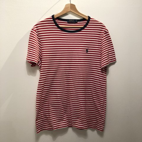 3e29653746 Polo Ralph Lauren striped red and white nautical t-shirt and - Depop