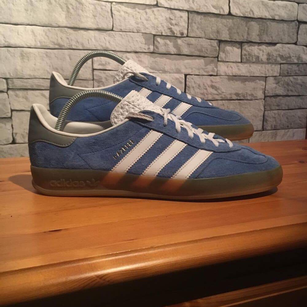Men's Adidas Gazelles Blue and White UK8 1010 Depop