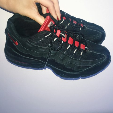 promo code c8971 80f6b RARE BLACK AND RED VINTAGE AIR MAX 95s Actual retro 95s and - Depop