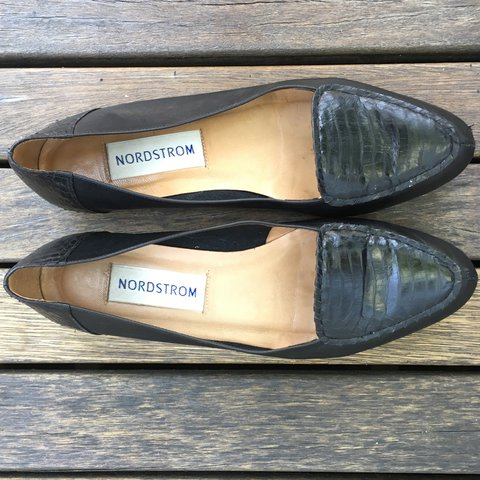 492c6bbd894 Nordstrom black leather flats loafers. Work well with jeans - Depop