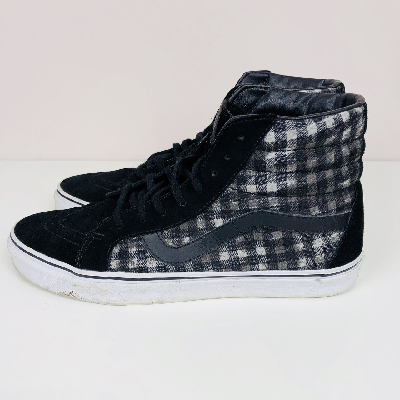 ae8715932a Black Vans Skate hi tops with checkered pattern Good few but - Depop