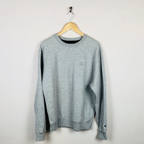 fb9ede8a2727 Grey Champion crewneck jumper with embroidered logo on chest - Depop
