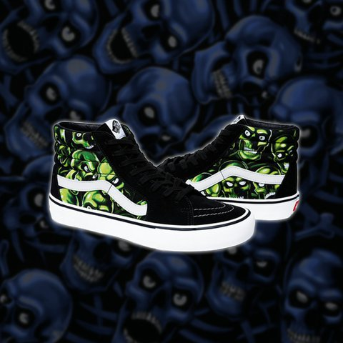 43c57de964 New SS18 Green Glow in the dark Supreme x Vans Skull Pile a - Depop