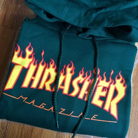 8eb66f66 @mall_grab. 2 years ago. Los Angeles, United States. THRASHER FLAME LOGO  HOODIE 🔥 FOREST GREEN ...