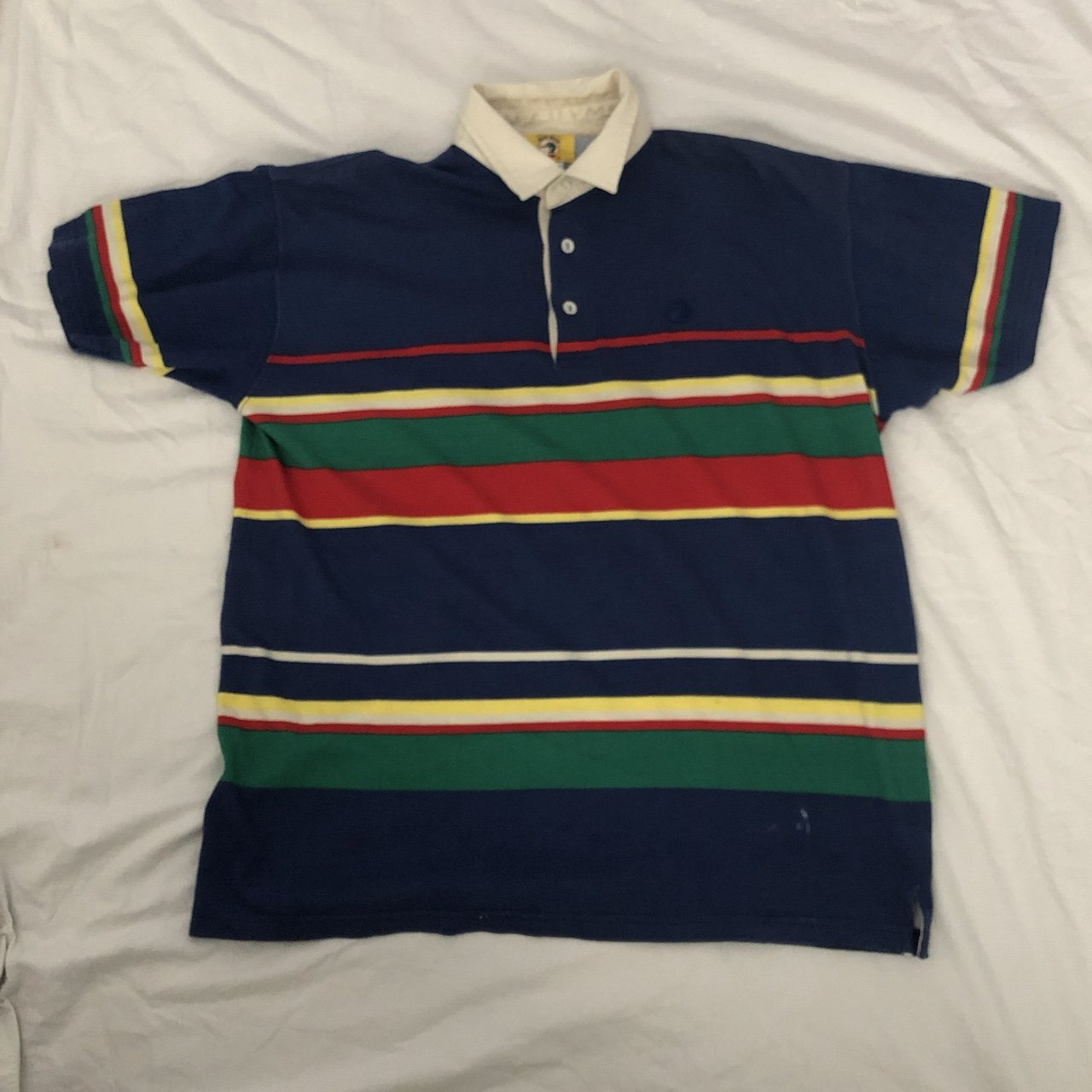 Vintage 90s Duck Head Stripped Polo Shirt With An Duck Head Depop