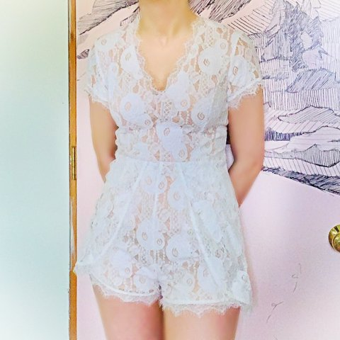 7df68a7b924e Lace romper from Francesca's Retail price: $60.00 Size: lace - Depop