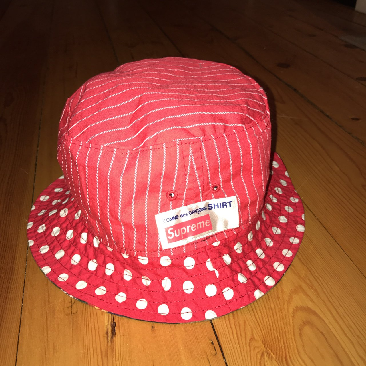 b858aa80205 supreme comme des garçons bucket cdg hat oh ya bb this one - Depop