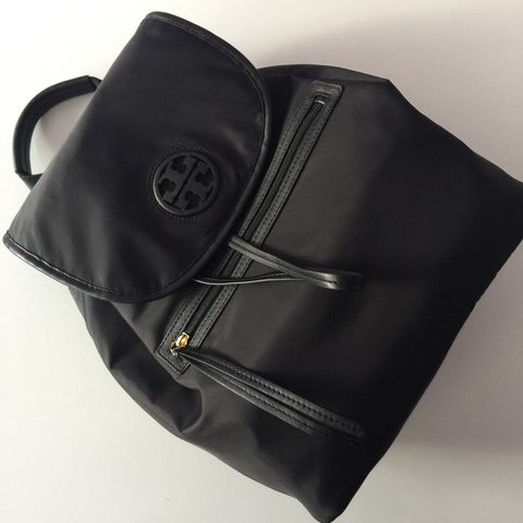 69ed47a3602c Tory Burch nylon backpack in black with gold hardware and is - Depop