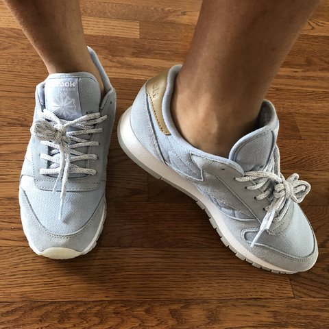 f734dcd0f4484 BABY BLUE REEBOK CLASSICS🦋. New with tags. Size 7.5 but me - Depop
