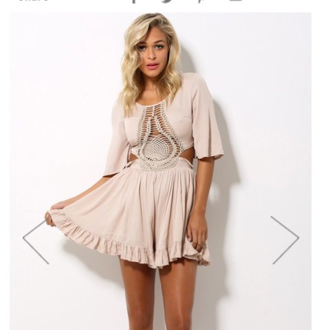 dae3491d62b9 Selling this hello Molly beige cream ruffle cut out playsuit - Depop