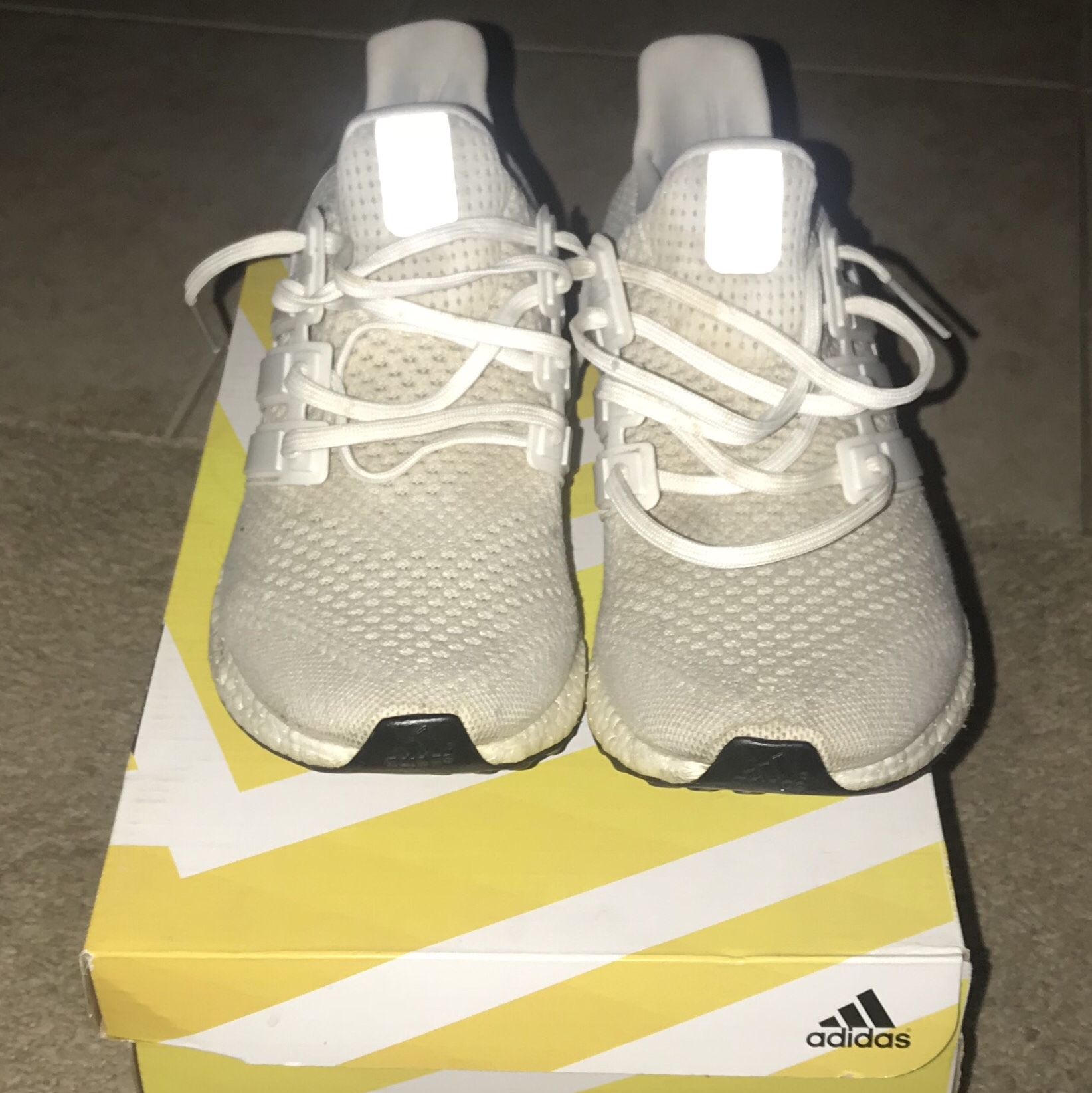 new style 7a4c5 058f3 Adidas UB 1.0 Triple whites. Size 10 in decent worn... - Depop
