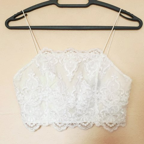 ef195a7b03a53 White lace crop top. From Topshop