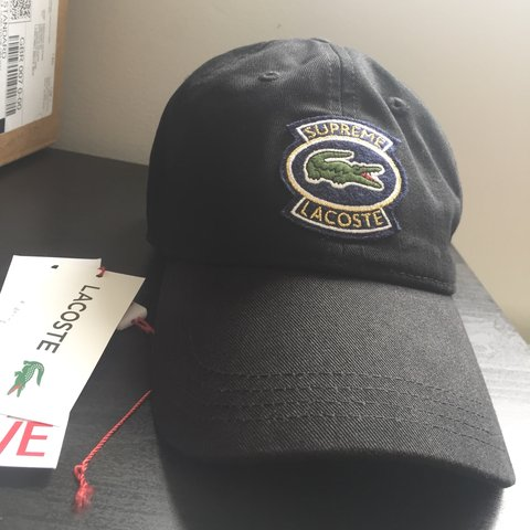 19000ae6b6c Supreme x Lacoste twill 6 panel black cap. This item sold is - Depop