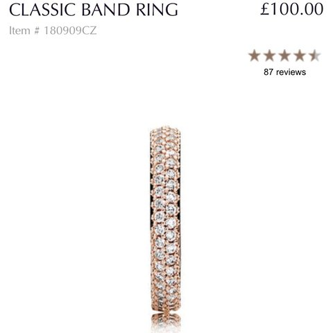 c7ddc656f @littlejray. 3 hours ago. Barnstaple, United Kingdom. Pandora Rose Classic  Band Ring Size 52. RRP £100. Product description in photos