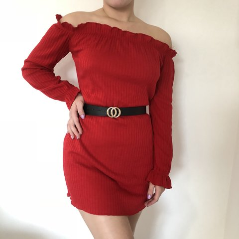 aa93507a46 Scarlet red dress, size 10/12. Sweater material, good (The - Depop