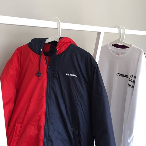 86ed1b8564a5 Supreme 2-tone hooded sideline jacket navy red XL £260 all - Depop