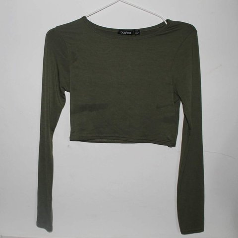 bc9281df9312 Khaki crop top from boohoo, UK10. Never worn, still with and - Depop