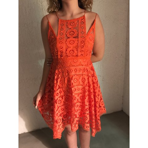 5042e4d3e7 Free People orange fully floral laced sundress with silk    - Depop